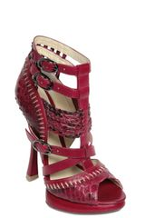 Alexandre Birman 130 Mm Python and Calf Sandals in Red - Lyst