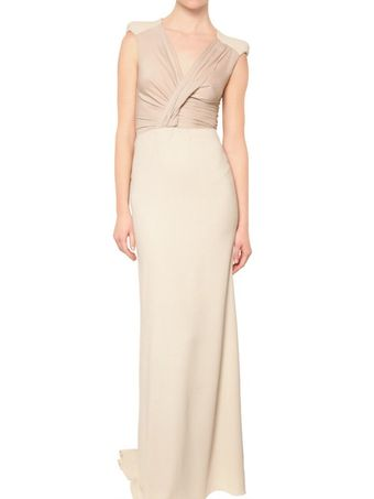 Antonio Berardi Wool Crepe and Silk Georgette Dress - Lyst