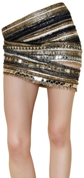 Balmain Embroidered Silk Chiffon Skirt - Lyst