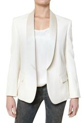 Balmain Silk Satin Collar Wool Crepe Jacket - Lyst