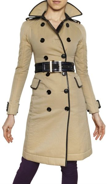 Burberry Prorsum Double Faced Gabardine Trench Coat in Beige