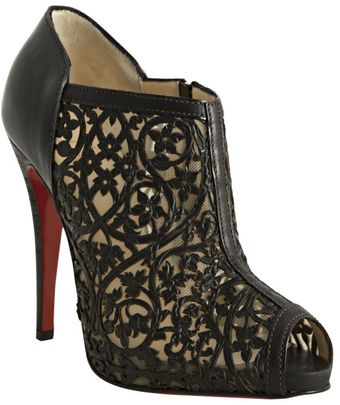 Christian Louboutin Black Laser Cut Leather Pampas 120 Peep Toe Booties - Lyst
