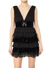 D&G Lace Velvet and Chiffon Ruffle Dress - Lyst