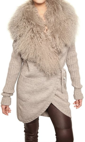 Dolce & Gabbana Mongolian Fur & Alpaca Wool Knit Sweater in Beige - Lyst