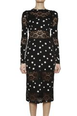 Dolce & Gabbana Printed Charmeuse Lace Inserts Dress - Lyst