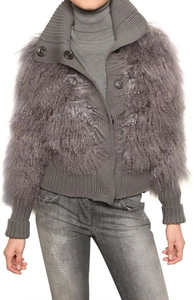 Dolce & Gabbana Mongolia Fur & Wool Knit Bomber Sweater in Gray (grey)