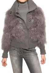 Dolce & Gabbana Mongolia Fur & Wool Knit Bomber Sweater in Gray (grey) - Lyst
