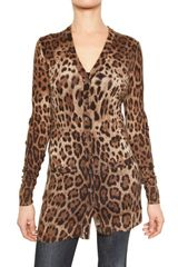 Dolce & Gabbana Printed Leopard Wool Knit Cardigan Sweat - Lyst
