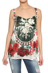 Dolce & Gabbana Printed Silk Satin Top - Lyst