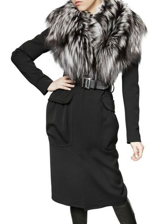 DSquared2 Silver Fox Collar Wool Stretch Coat - Lyst