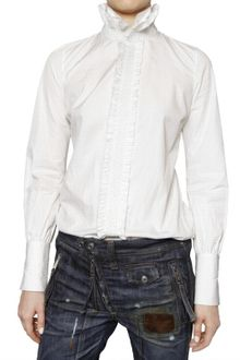 DSquared2 Ruffled Cotton Poplin Shirt - Lyst