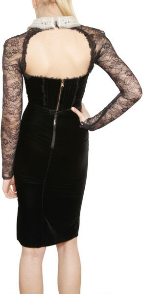Emilio Pucci Lace Sleeved Viscose Velvet Dress In Black Lyst