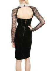 Emilio Pucci Lace Sleeved Viscose Velvet Dress in Black - Lyst