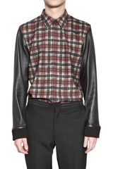 Givenchy Wool Flannel and Nappa Shirt - Lyst