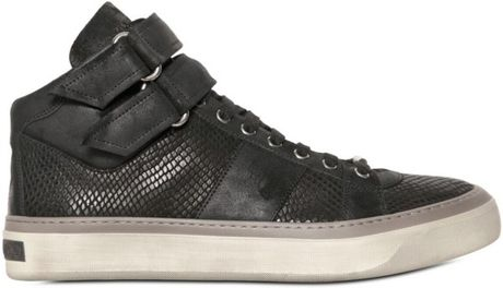 Jimmy Choo Snake Embossed Calf and Suede Sneakers in Black for Men - Lyst