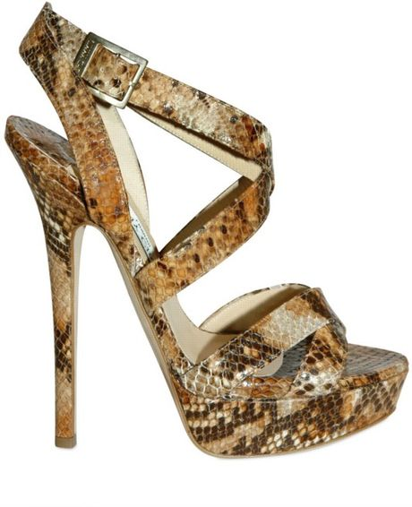 Jimmy Choo 145mm Snake Print Cross Over Sandals in Brown (tan) - Lyst