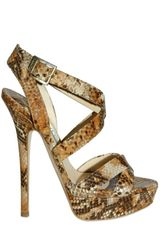 Jimmy Choo 145mm Snake Print Cross Over Sandals
