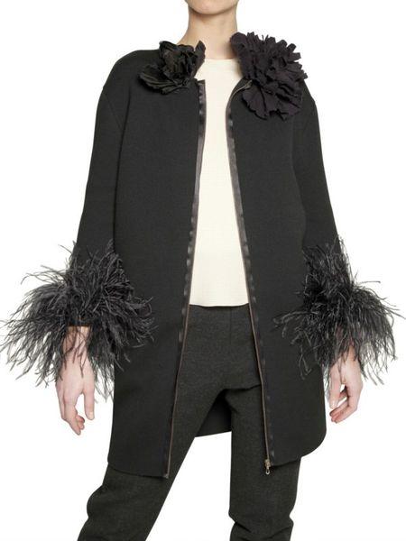 Lanvin Ostrich Feather Cuffs Wool Knit Coat In Black Lyst