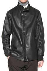 Lanvin Raw Cut Calfskin & Wool Leather Jacket - Lyst