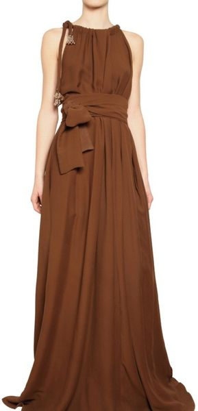 Lanvin Washed Silk Crepe Long Dress in Brown