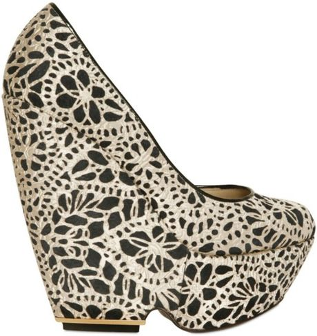 Nicholas Kirkwood 150mm Laser Cut Silk and Suede Wedges in Black (beige)