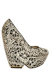 Nicholas Kirkwood 150mm Laser Cut Silk and Suede Wedges - Lyst