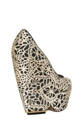 Nicholas Kirkwood 150mm Laser Cut Silk and Suede Wedges in Black (beige) - Lyst