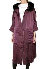 Nina Ricci Silk Viscose Satin Coat - Lyst