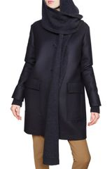 Stella McCartney Shawl Collar Wool Twill Coat - Lyst