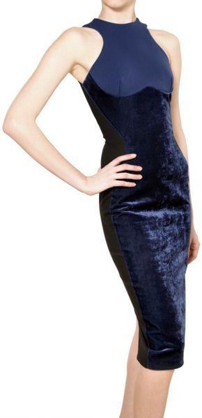 Stella Mccartney Velvet On Bistretch Cotton Dress In Blue