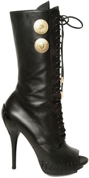 Versace 120mm Nappa Lace Up Open Toe Boots in Black - Lyst