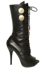 Versace 120mm Nappa Lace Up Open Toe Boots