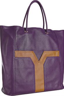 Yves Saint Laurent Violet Leather Lucky Chyc Two-tone Tote - Lyst