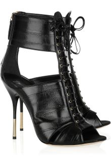 Giuseppe Zanotti Lace-up Glossed-leather Sandals - Lyst