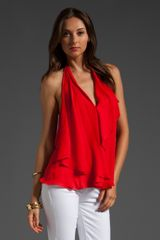 Haute Hippie Drape Halter Top in Red (poppy) - Lyst