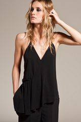 Alexander Wang Asymmetrical Draped Sash Top in Black - Lyst
