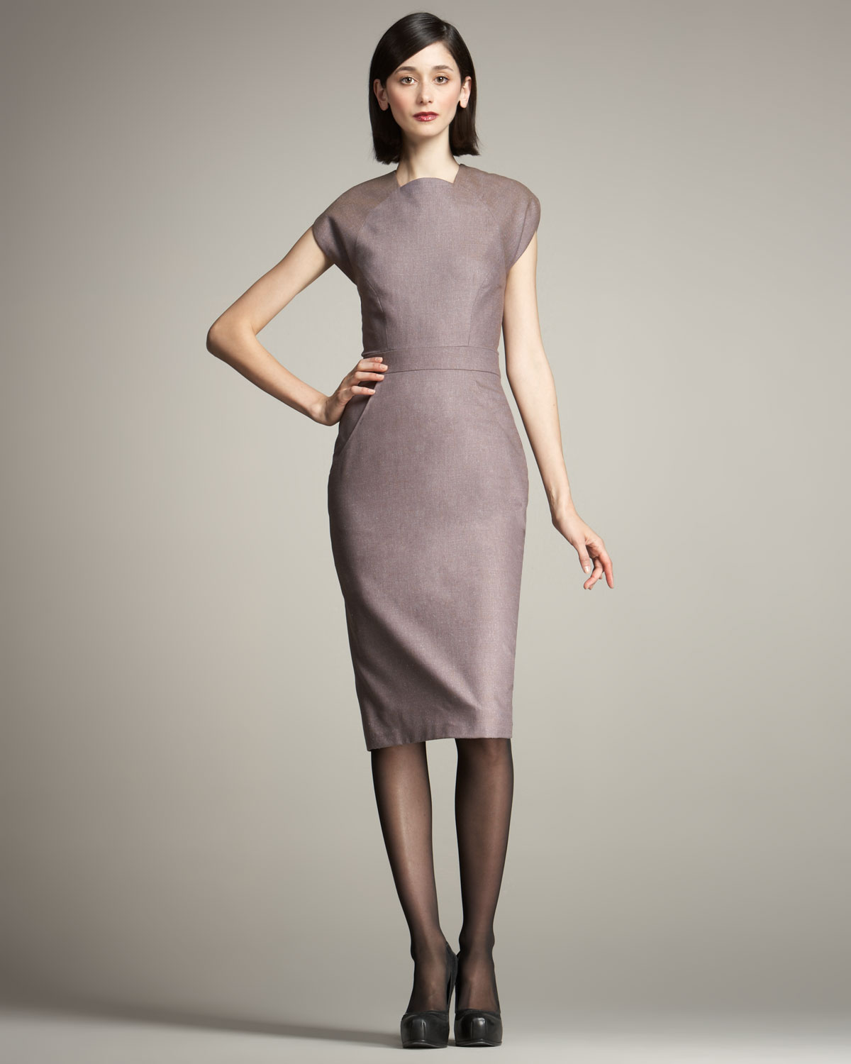 Carolina herrera Stretch-wool Sheath Dress in Gray | Lyst