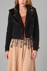 Elizabeth And James Moto Jacket with Removable Fur Collar - Lyst