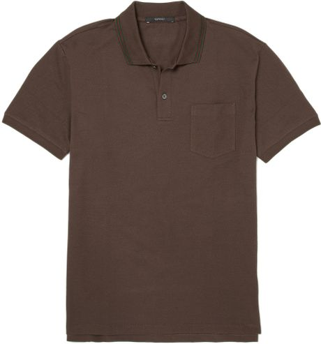 Gucci Cotton Blend Polo Shirt In Brown For Men Lyst