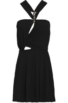 Halston Cutout Stretch-crepe Mini Dress - Lyst