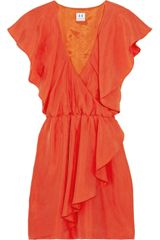 Halston Heritage Wrap-effect Silk-crepe Dress - Lyst