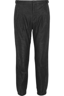 Helmut Lang Cracked-leather Cropped Pants - Lyst