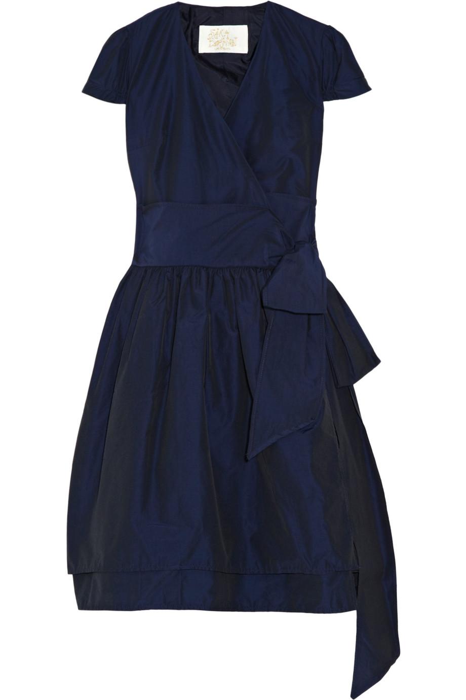 77974764cf7a Lyst - Sara Berman Gathered Woven Wrap Dress in Blue