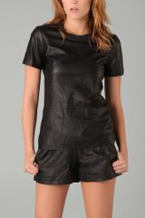 Theory Pency Leather Top - Lyst