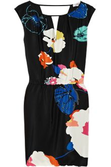 Tibi Josephine Floral-print Cutout Silk Dress - Lyst