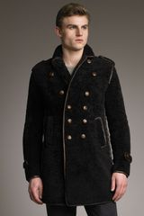 Burberry Prorsum Sheepskin Pea Coat - Lyst