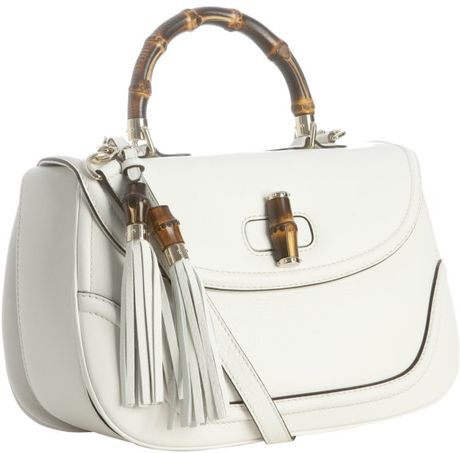 Gucci White Leather New Bamboo Top Handle Bag In White Lyst