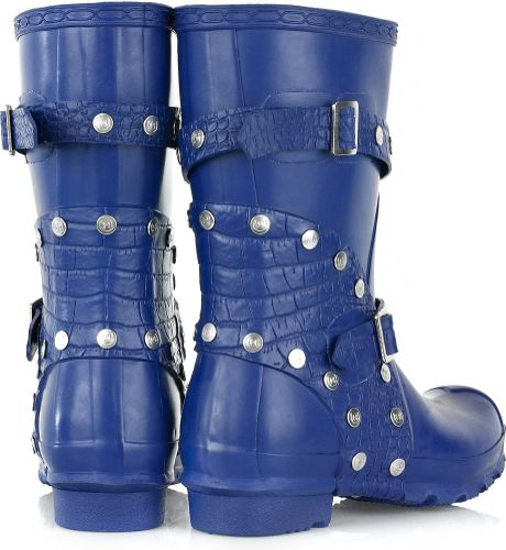 Hunter Festival Short Wellington Boots In Blue Lyst