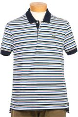 Lacoste L!ive Striped Pique Polo Shirt - Lyst