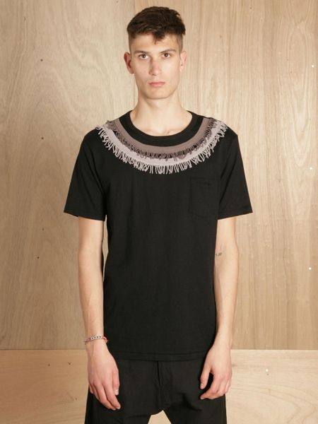 Sasquatchfabrix mens oriental fringe t shirt in black for for Mens shirt with tassels
